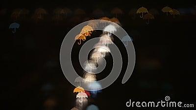 Umbrella Shaped Bokeh. Subject: Umbrella shaped bokeh of city traffic. Shot: Bokeh, Blurred Background stock footage