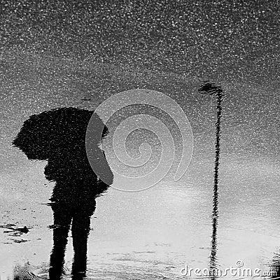 Umbrella under the rain