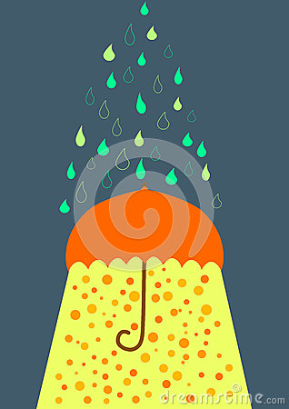 Umbrella under rain and sunlight greeting card