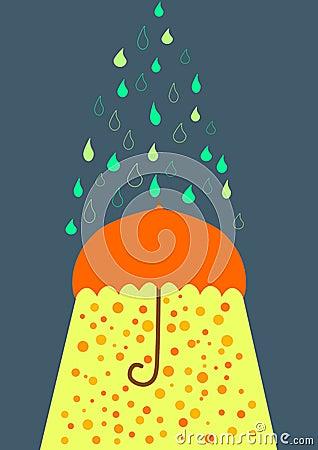 Umbrella under rain and sunlight greeting card