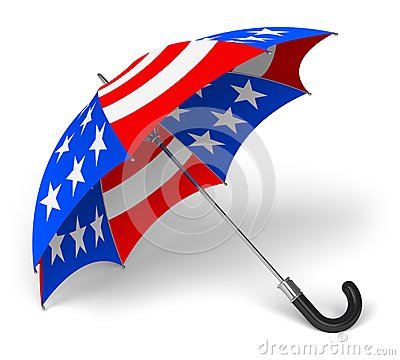 Umbrella with US national flag