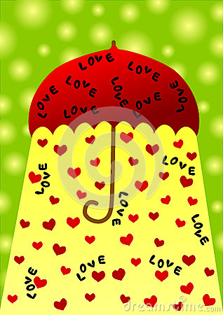 Umbrella valentines day card