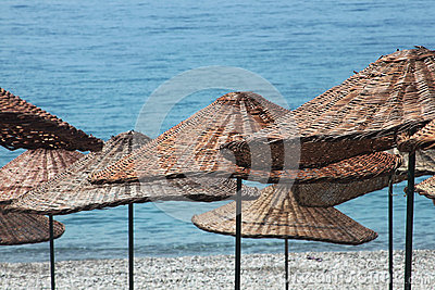 Umbrellas background in Turkey beaches