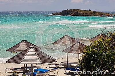 Umbrellas on the beach in Cyprus