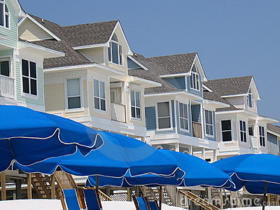 Umbrellas and Beach Houses