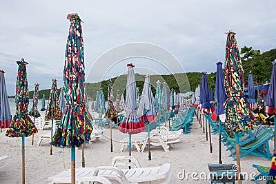 Umbrellas on the beach at Koh Lan