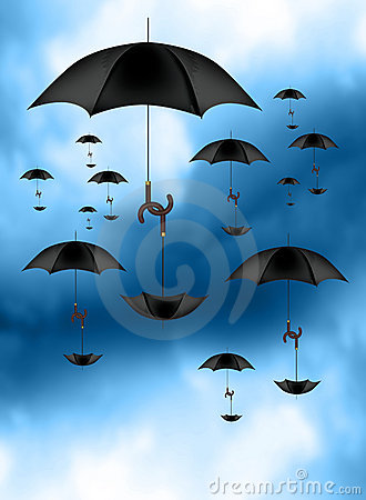 Umbrellas carrying Umbrellas