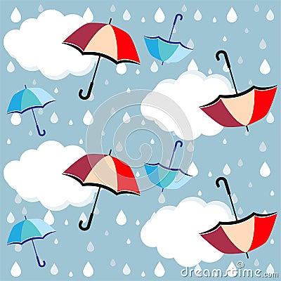 Free Umbrellas, Clouds Rain Drops - Vector, Eps Stock Image - 126780561