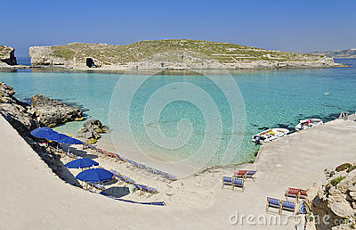 Umbrellas in Comino - Malta