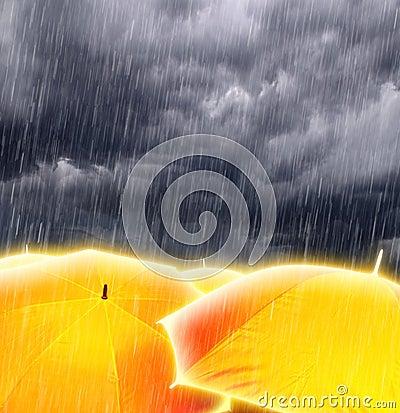Umbrellas in Rainy Storm Clouds