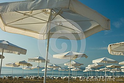 Umbrellas on seaside