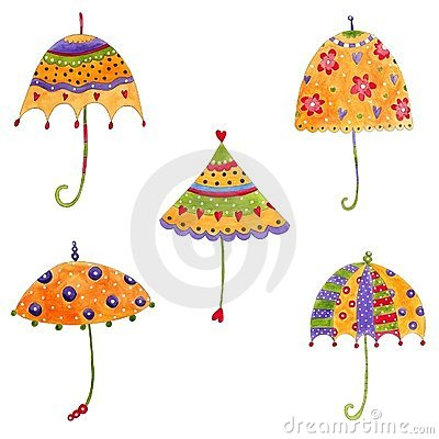 Umbrellas. Set of decorative elements
