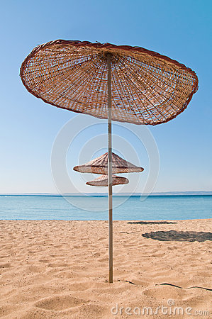 Umbrellas on Tropical Beach