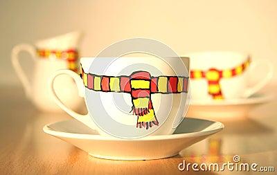 Umore di inverno in tazze di caffè