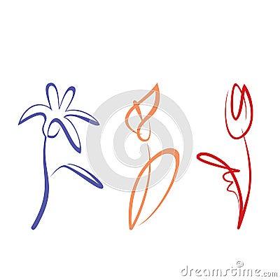 Umrissene Blumensammlung