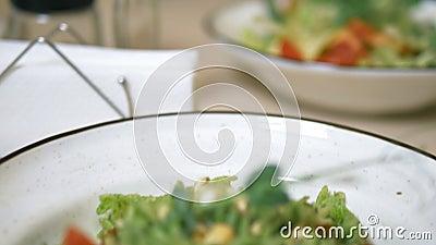 Un almuerzo vegetariano Ensalada vegetal y pasta con salsa verde metrajes