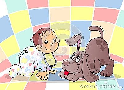 Un bambino e un cucciolo
