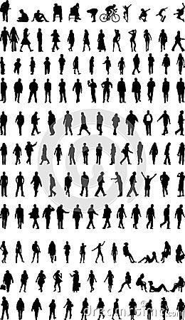 Un bon nombre de silhouettes de gens