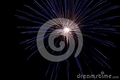 Un burst fragile dei fuochi d artificio nel cielo notturno