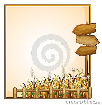 Un cadre avec trois flèches en bois