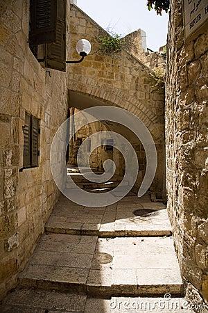 Un callejón en la ciudad vieja de Jerusalén