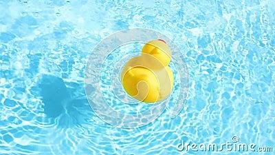 Un canard en caoutchouc jaune peut dériver décontracté sur l'eau miroitante et clair comme de l'eau de roche banque de vidéos