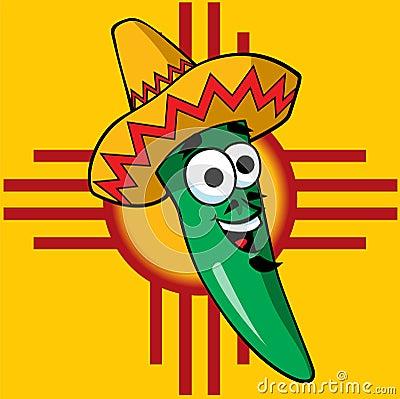 Ilustración de un chile verde feliz de New México que desgasta un ...