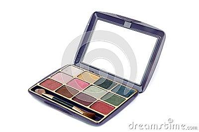 Un conjunto colorido de la paleta del maquillaje