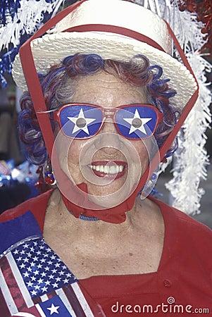 Un delegado entusiástico Imagen de archivo editorial