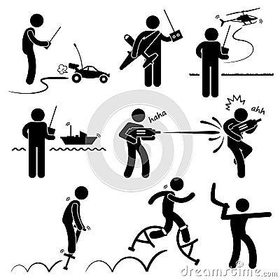 Les gens jouant le pictogramme extérieur à distance de jouets
