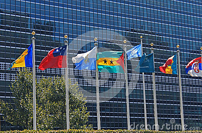 UN Flags in front of United Nations Building in New York City