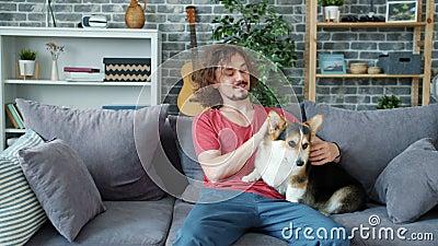 Un gars joyeux qui brasse du chiot de corgi sur un canapé à la maison en profitant du temps libre clips vidéos