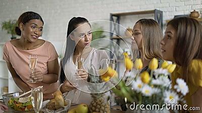Un groupe de 5 femmes de race mixte. les femmes qui rient et qui parlent au brunch 4K banque de vidéos