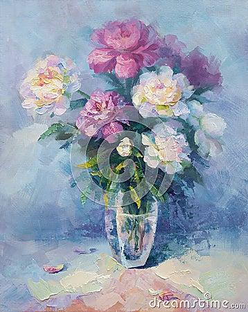 Un groupe de pivoine rose et blanche