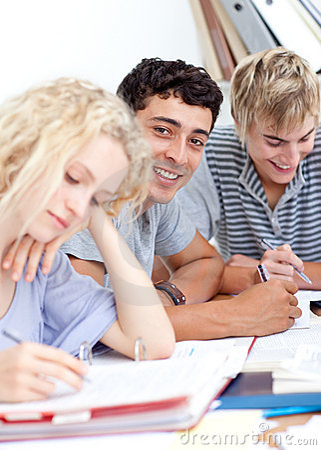 Un grupo de adolescentes que estudian junto