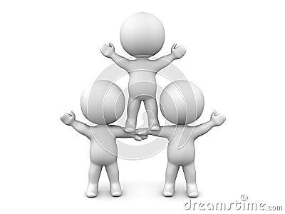 Un gruppo del concetto di lavoro di squadra di tre uomini 3D