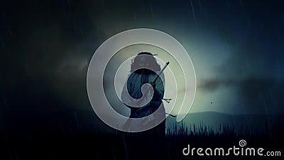 Un guerrier épique généré par ordinateur de Natif américain se mettant à genoux dans un domaine ouvert sous une tempête illustration libre de droits