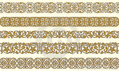 Un insieme di cinque bordi decorativi fotografia stock for Greche decorative