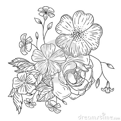 Un mazzo dei fiori per i libri da colorare illustrazione - Libri da colorare di fiori ...