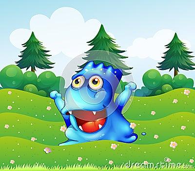 Un monstruo azul feliz cerca de los árboles de pino