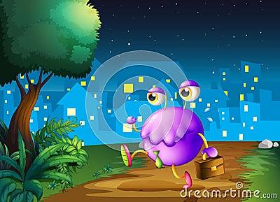 Un monstruo púrpura que sostiene un bolso que camina en el medio de cerca