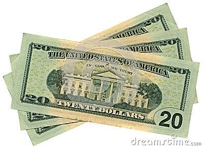 Un mucchio di venti dollari isolati, ricchezza di risparmio