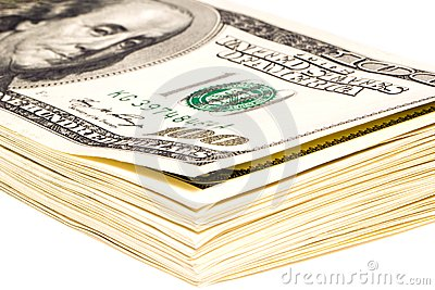 Un paquete de 100 billetes de dólar