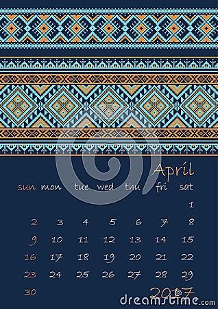 Un pianificatore di 2017 calendari con l 39 ornamento etnico for Capannone pianificatore di layout