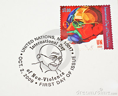 UN Postage stamp dedicating Mahatma Gandhi Editorial Stock Image