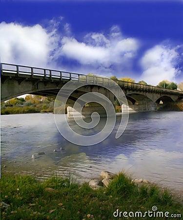 Un puente nublado del día
