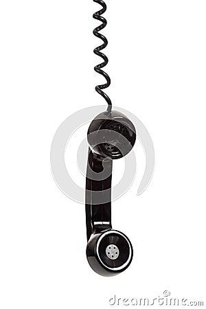 Un receptor de teléfono negro en un fondo blanco