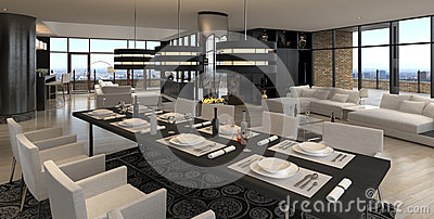 Intérieur moderne de salon | Grenier de conception