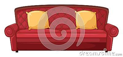 un sofa rouge et des coussins jaunes photo libre de droits. Black Bedroom Furniture Sets. Home Design Ideas