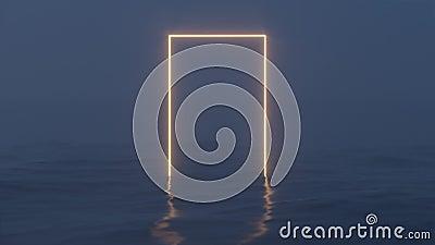 Un telaio gonfio che galleggia sul lago la sera, in 3d di rendering video d archivio